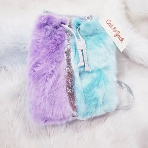 NWT Cat & Jack faux fur backpack glitter